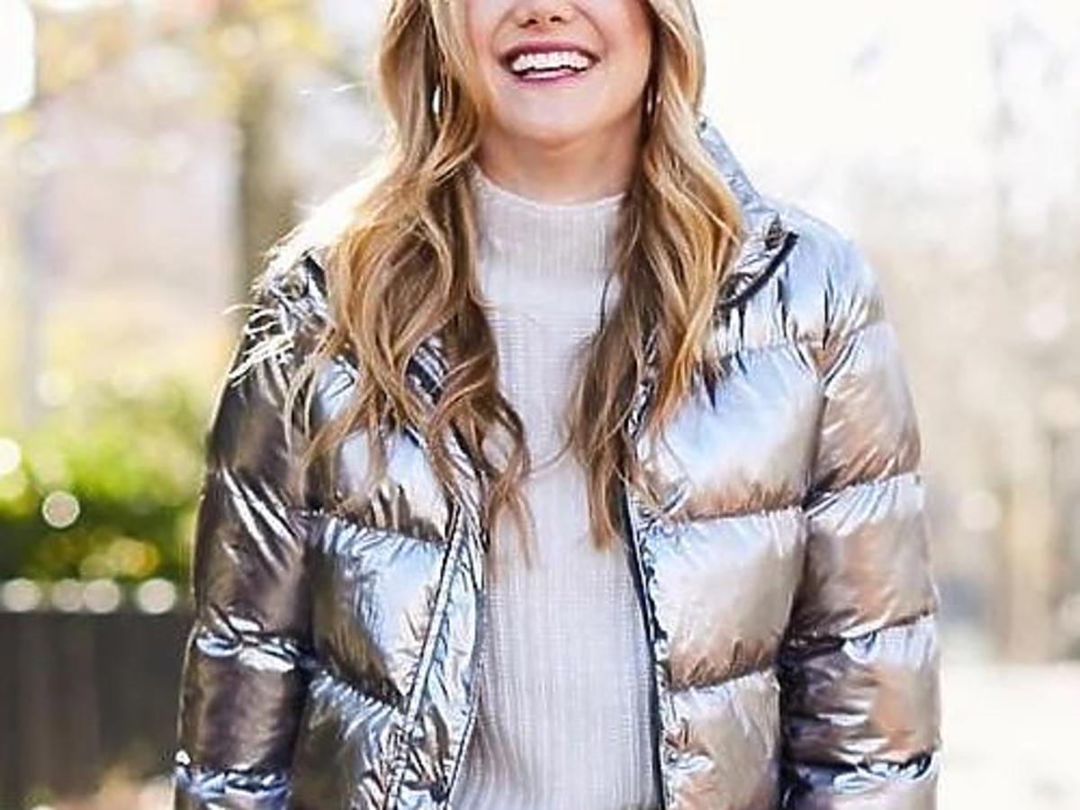 kurtka puchowa srebrna metaliczna