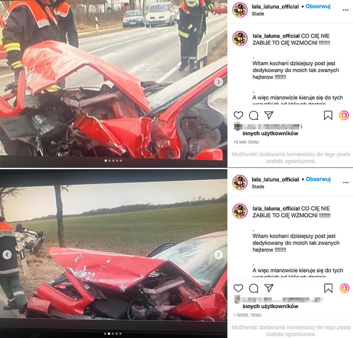 Laluna pokazała zdjęcia z wypadku