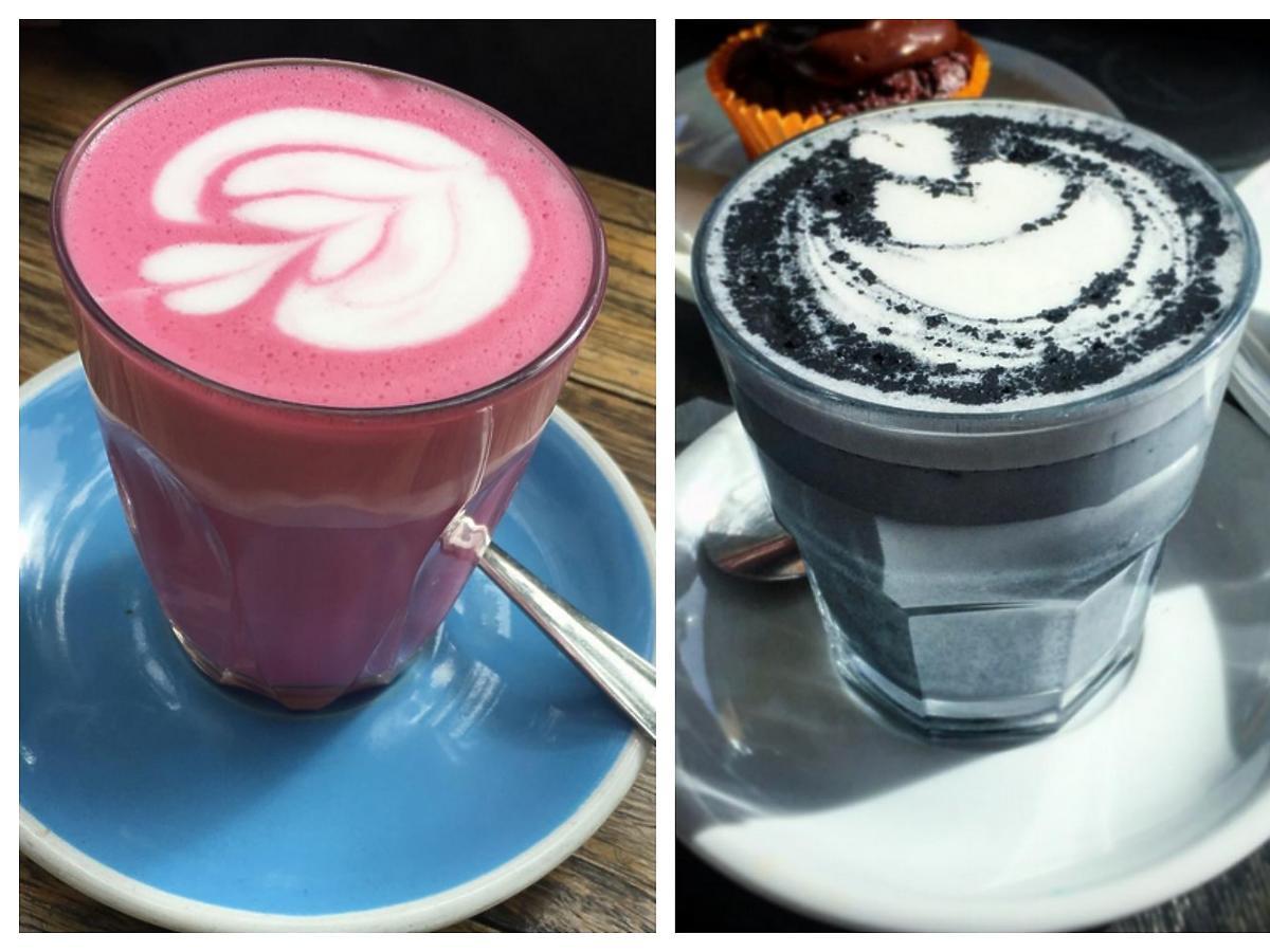 latte węglowe burakowe i z kurkumą trzy kubki