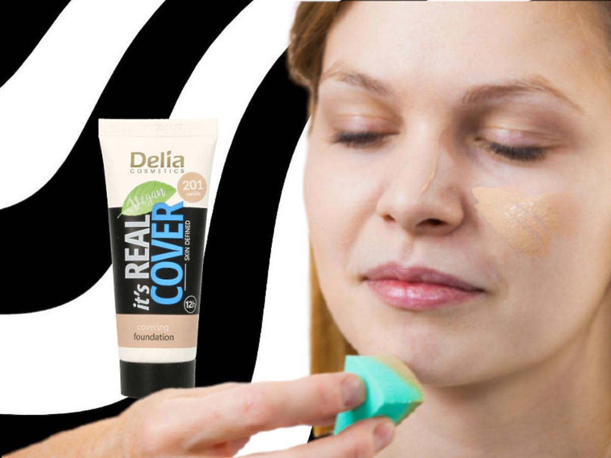 lekki podkład kryjący do twarzy Delia - efekty