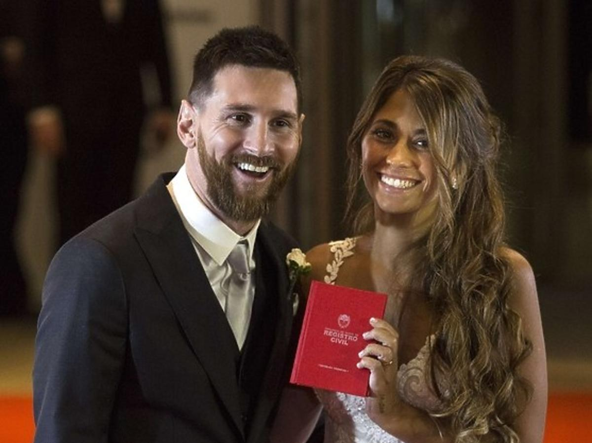 Lionel Messi z żoną Antonellą