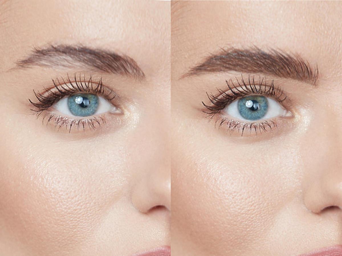 Makijaż brwi przed i po