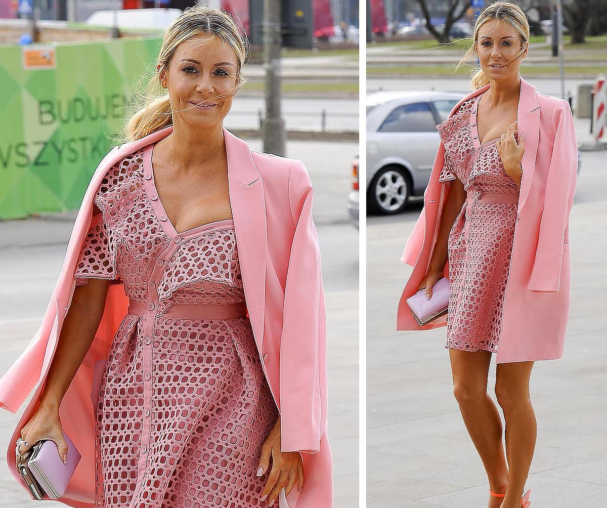 Małgorzata Rozenek-Majdan w różowej sukience Self Portrait