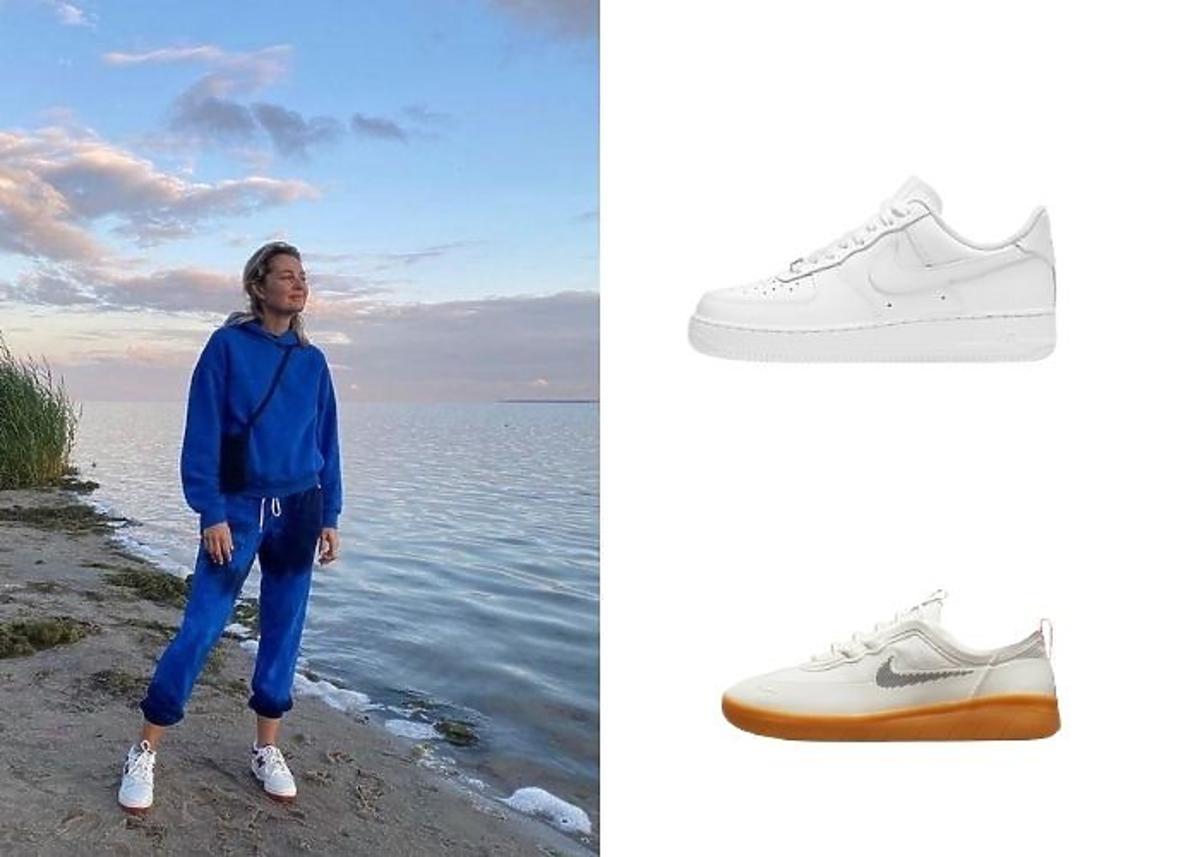 Małgorzata Socha w niebieskich dresach, białych sneakersach na plaży.