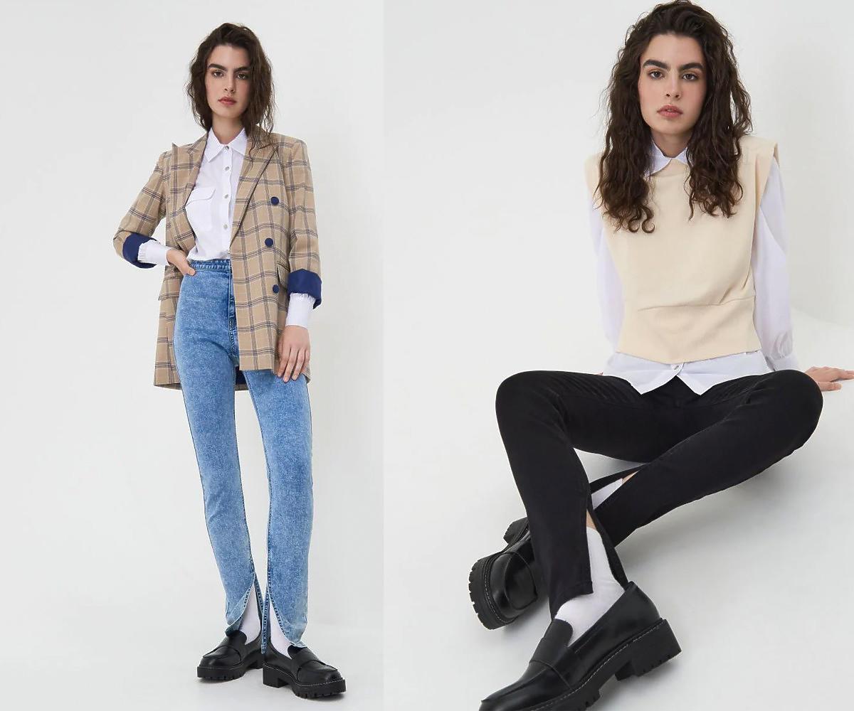 Marmurkowe jeansy Sinsay