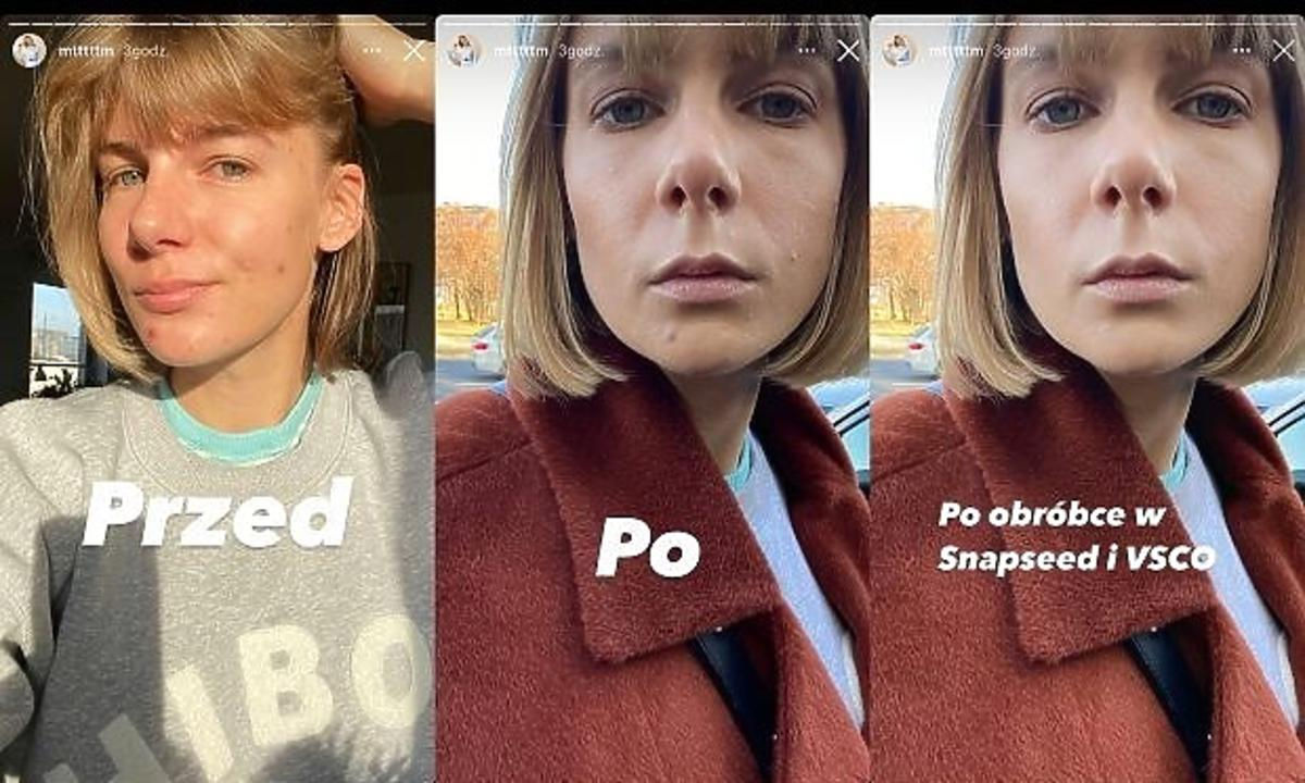 Marta Wierzbicka w makijażu i bez