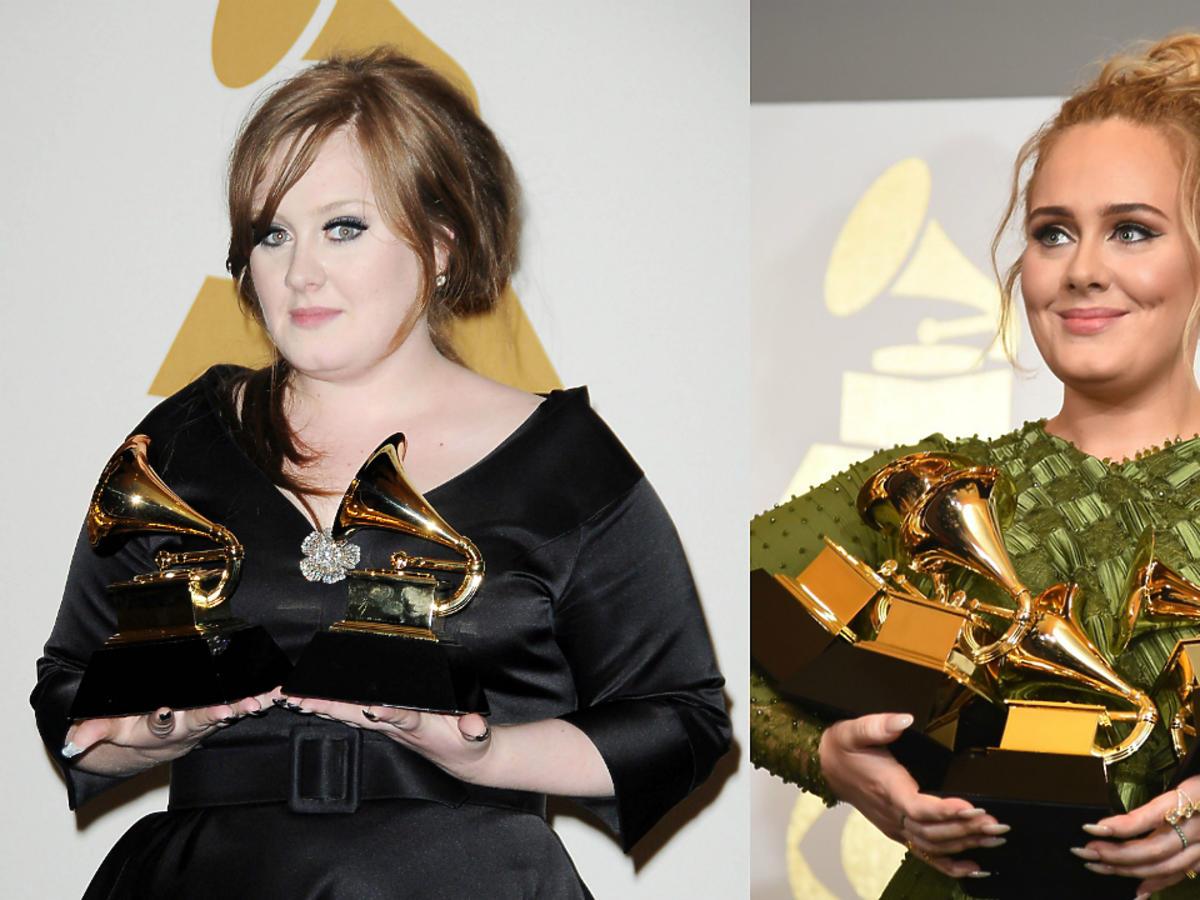 Metamorfoza Adele w odchudzaniu, wokalistka w 2009 roku i w 2017 roku