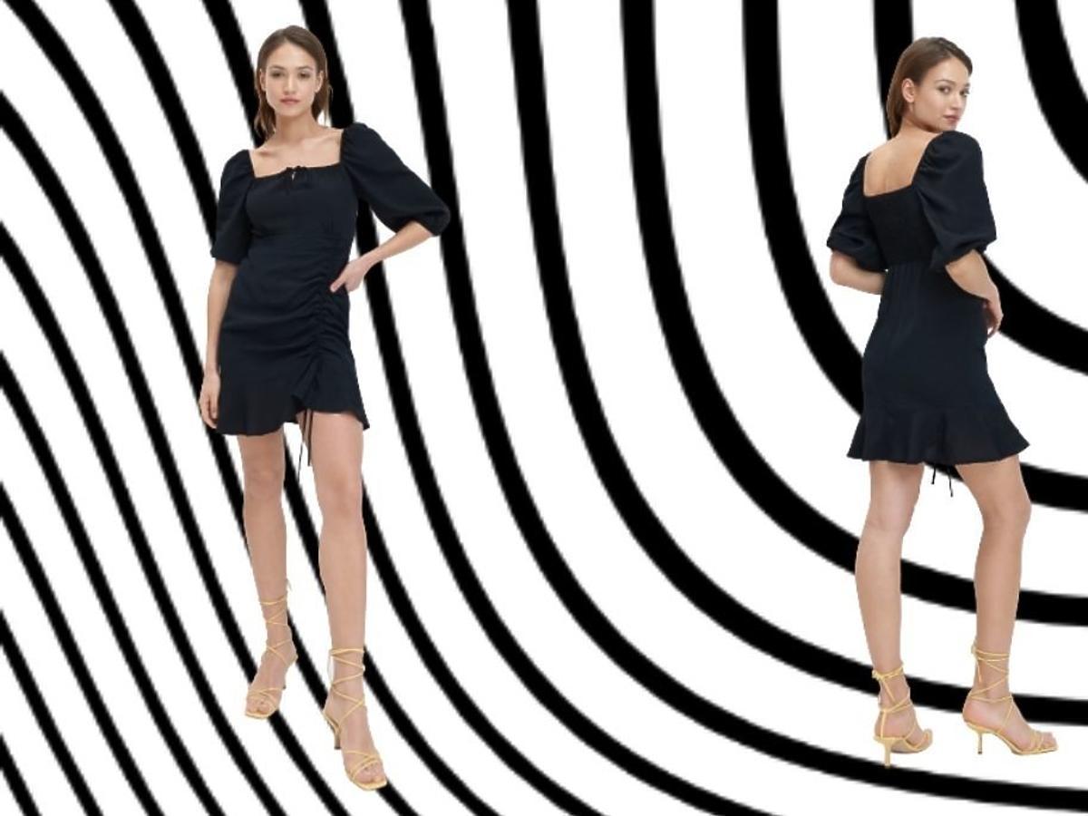 Modelki pozują z czarną sukienką z Mohito