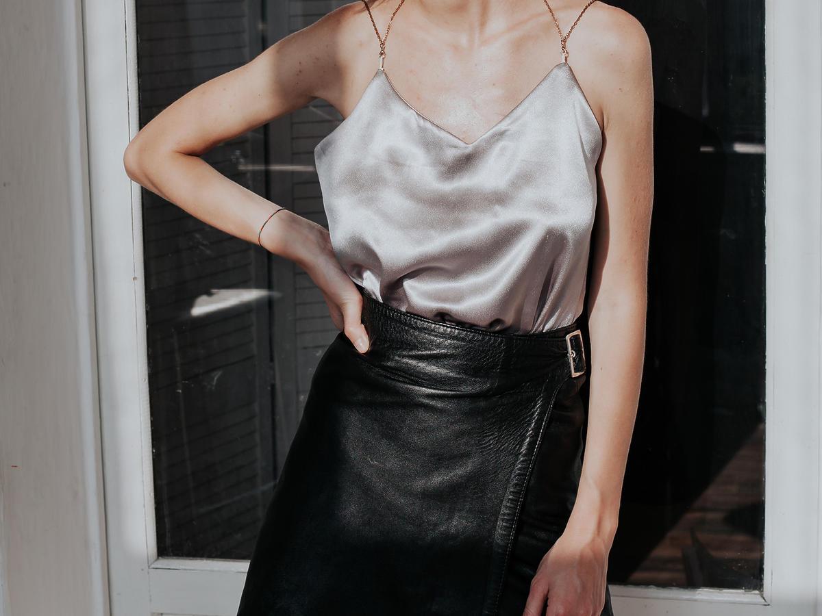 modna skórzana spódnica