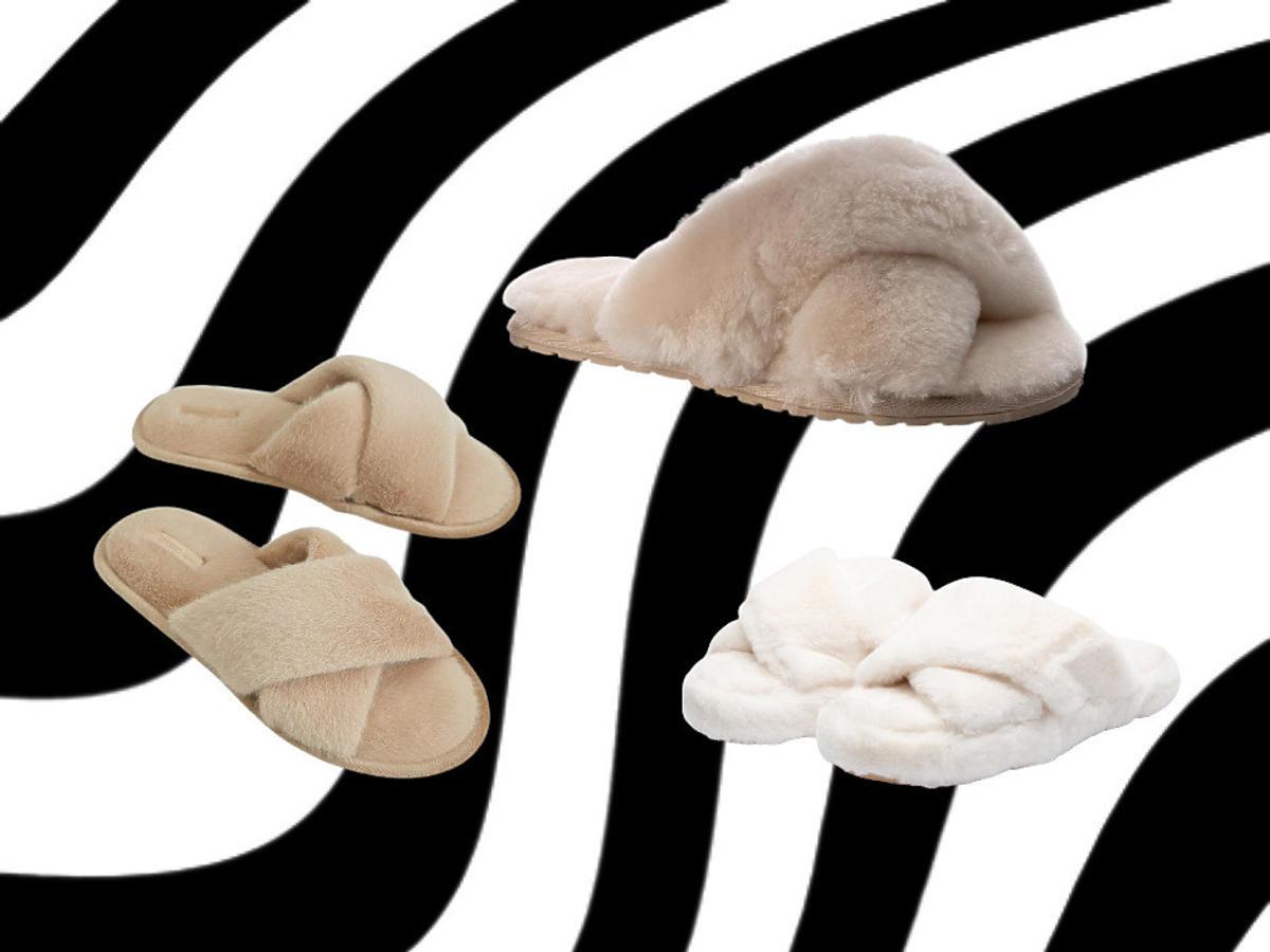 modne buty 2021 – kapcie z futerkiem