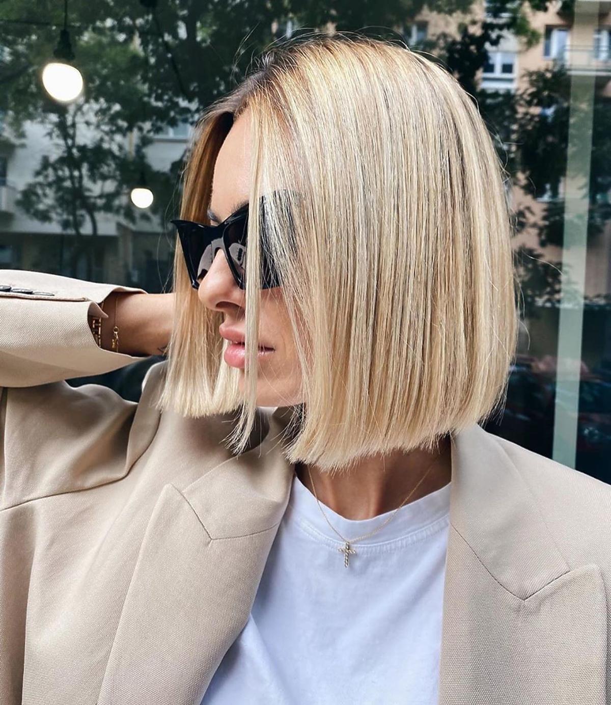 modne fryzury jesień- zima 2020 - blunt bob