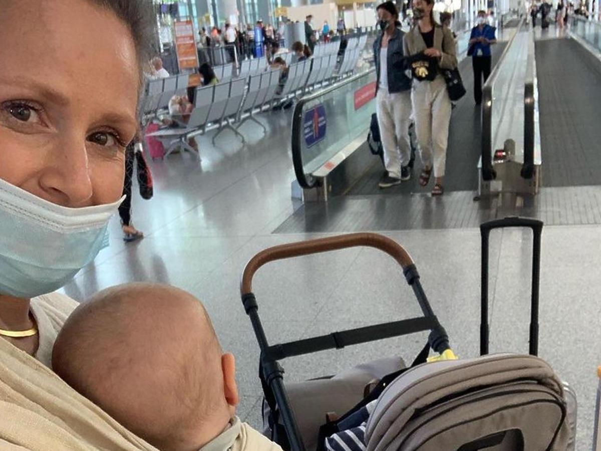 Monika Mrozowska z synem na wakacjach