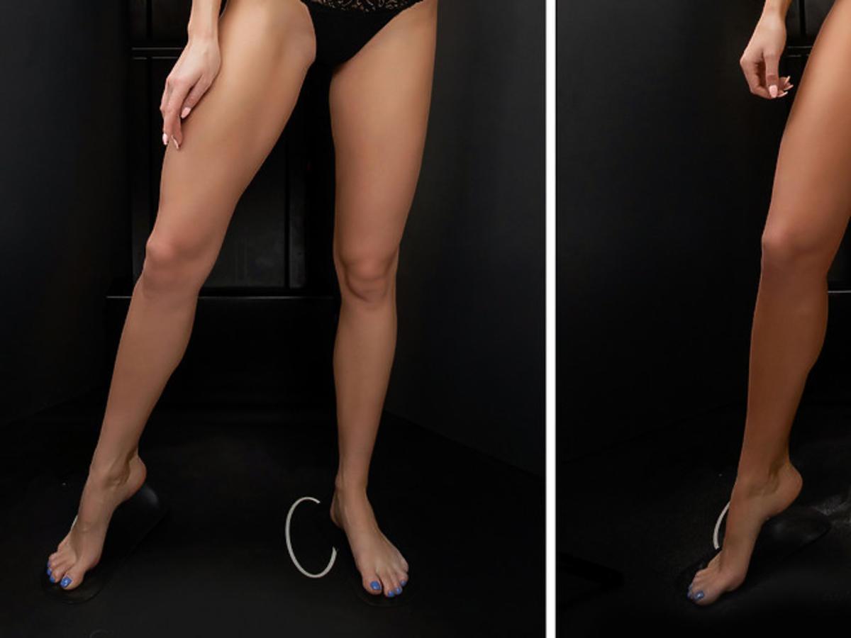 nogi przed i po nałożeniu balsamu brązującego