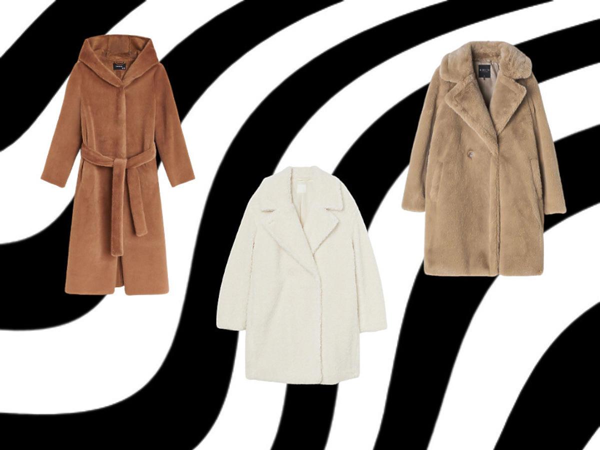 pluszowy płaszcz - modele z sieciówek