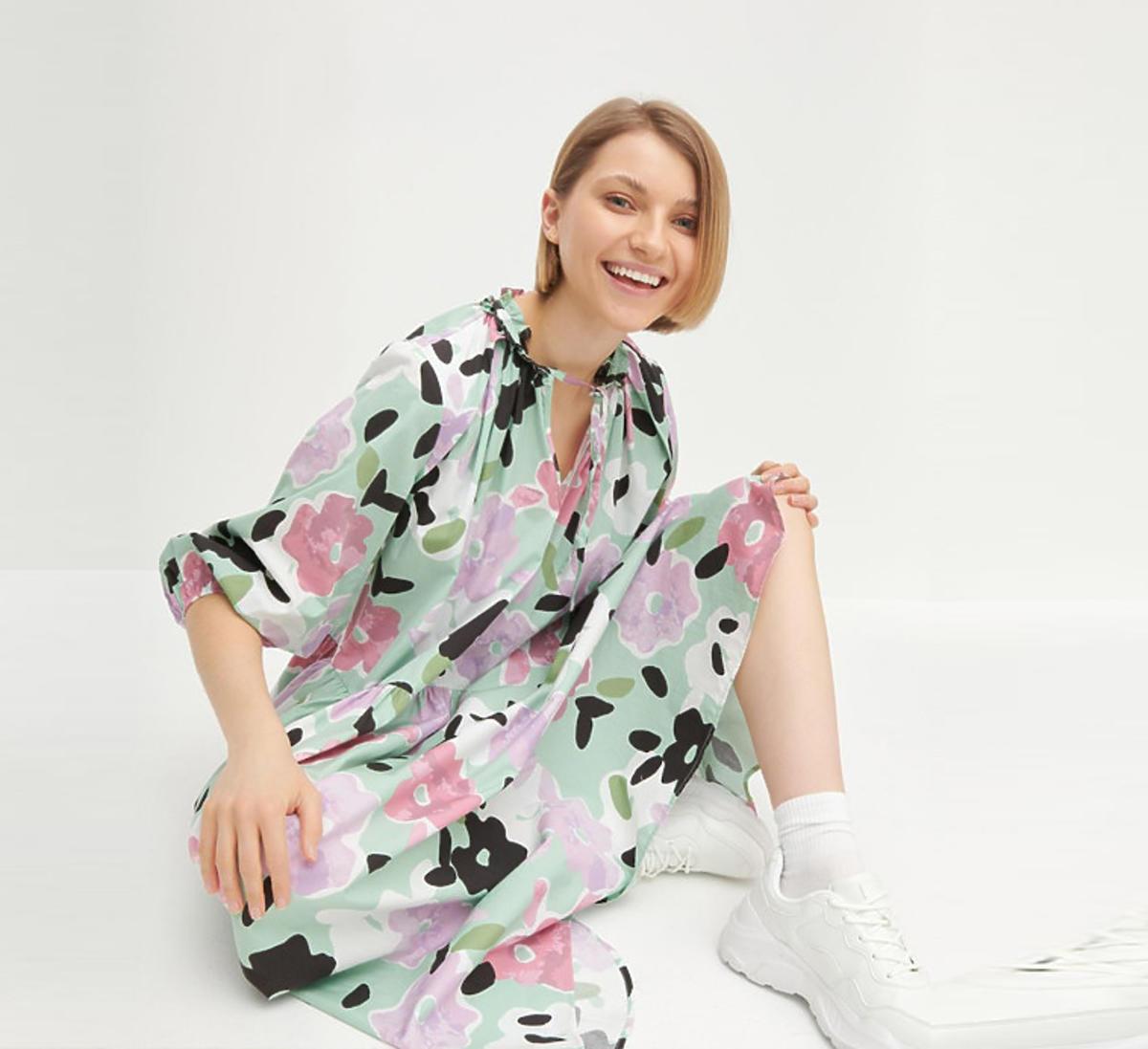 Popelinowa sukienka maxi w kwiaty, Reserved