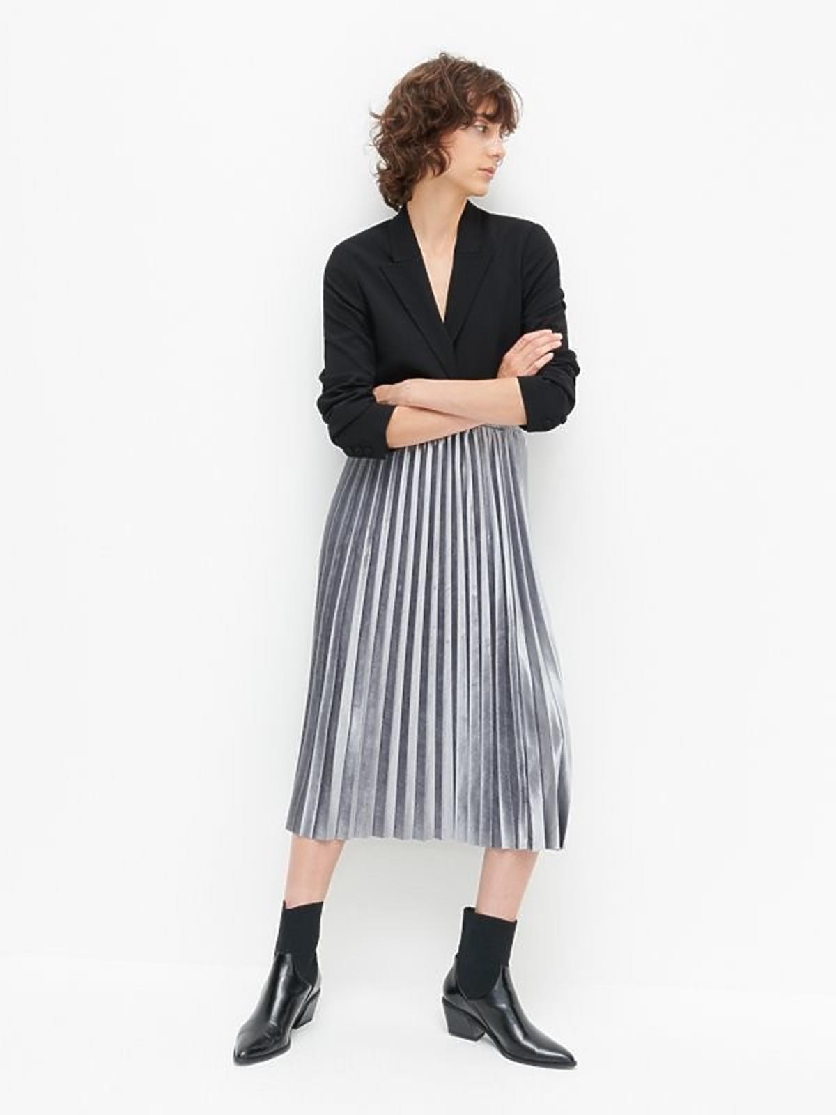reserved spódnica plisowana srebrna