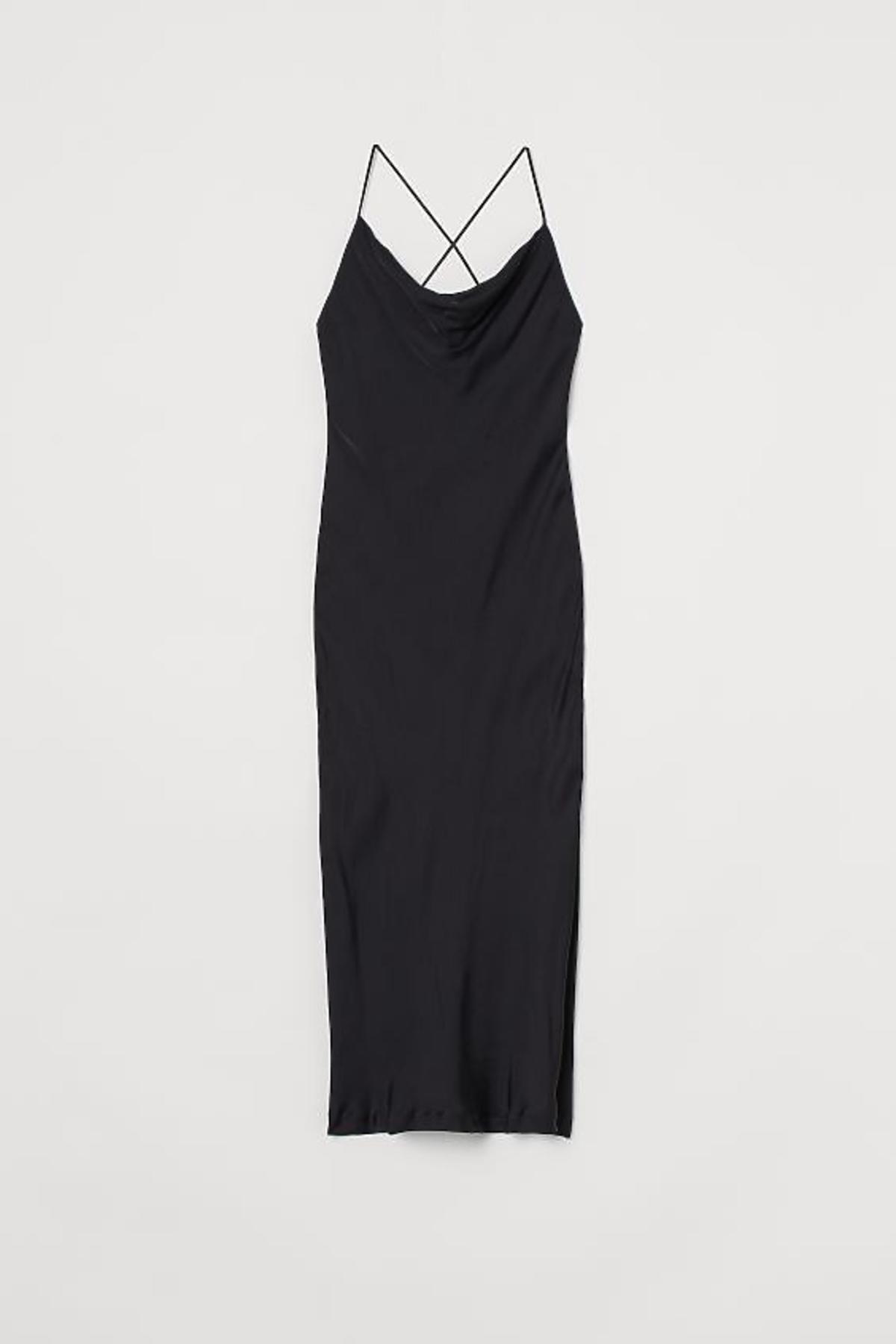 satynowa sukienka H&M - mała czarna