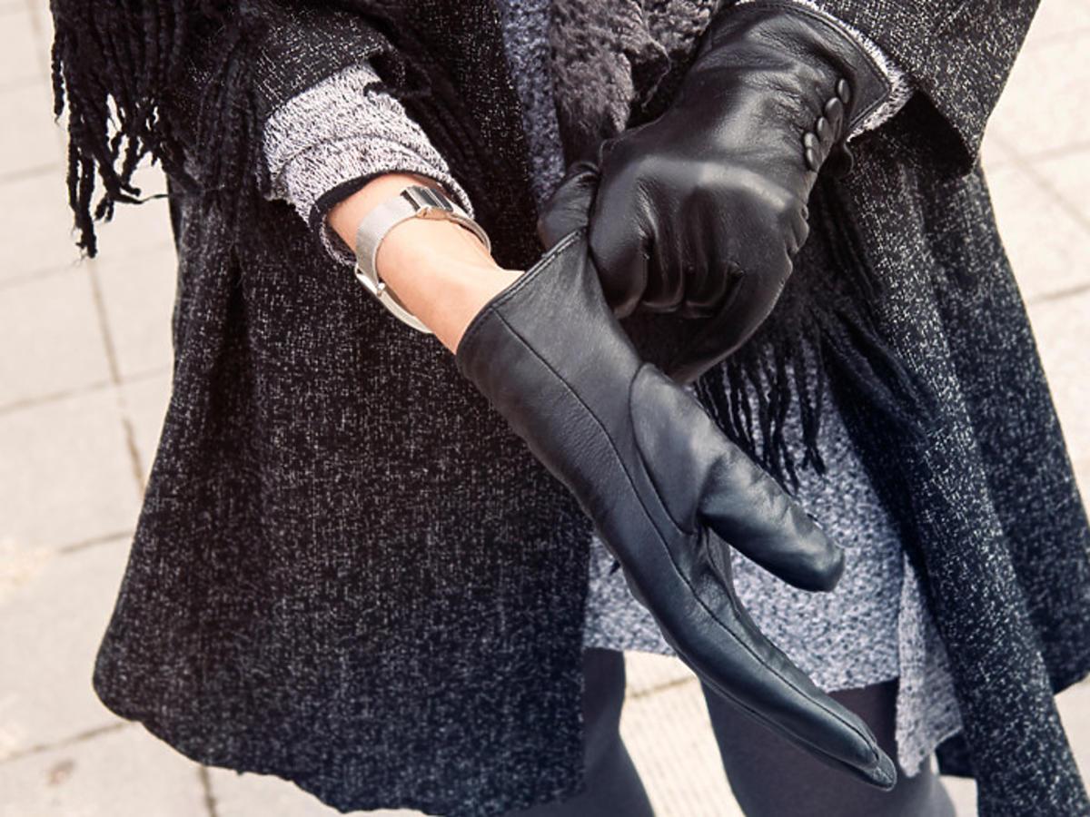 skórzane rękawiczki z Biedronki