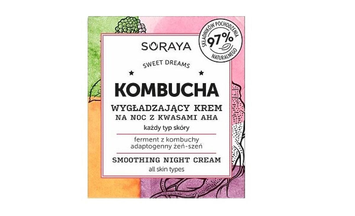Soraya Kombucha wygładzający krem na noc z kwasami AHA na promocji w Rossmannie