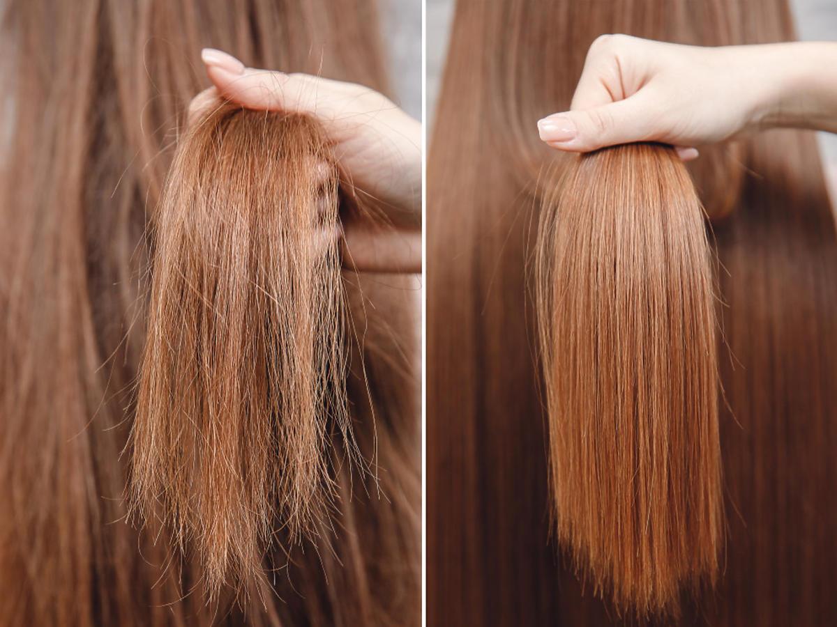 suche włosy przed i po użyciu szamponu na bazie miodu