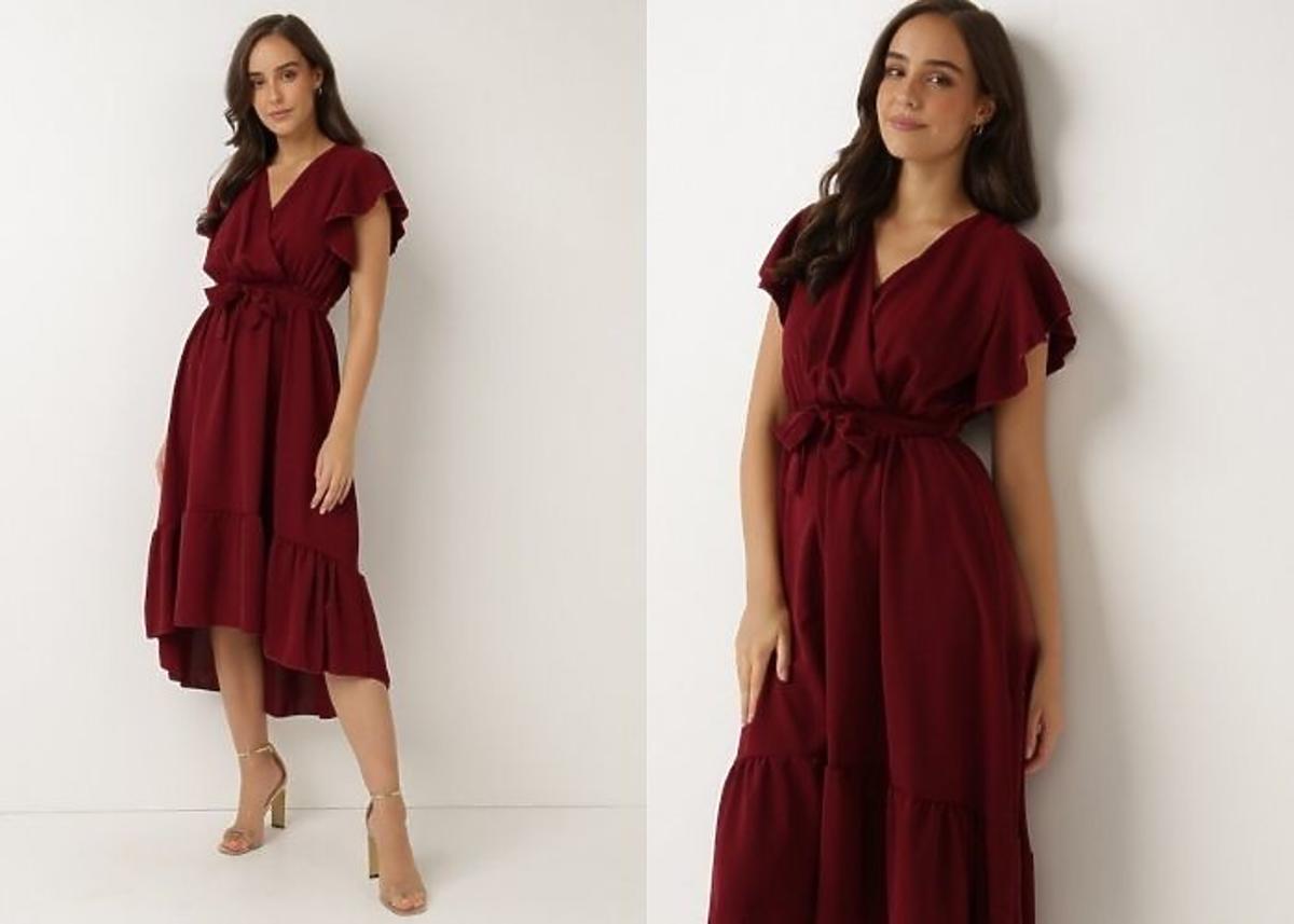 sukienka letnia midi bordowa