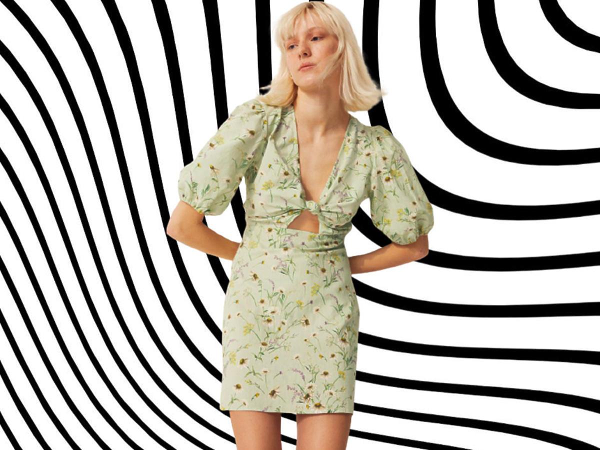 sukienka w kwiaty z wyprzedaży w H&M za 65 zł