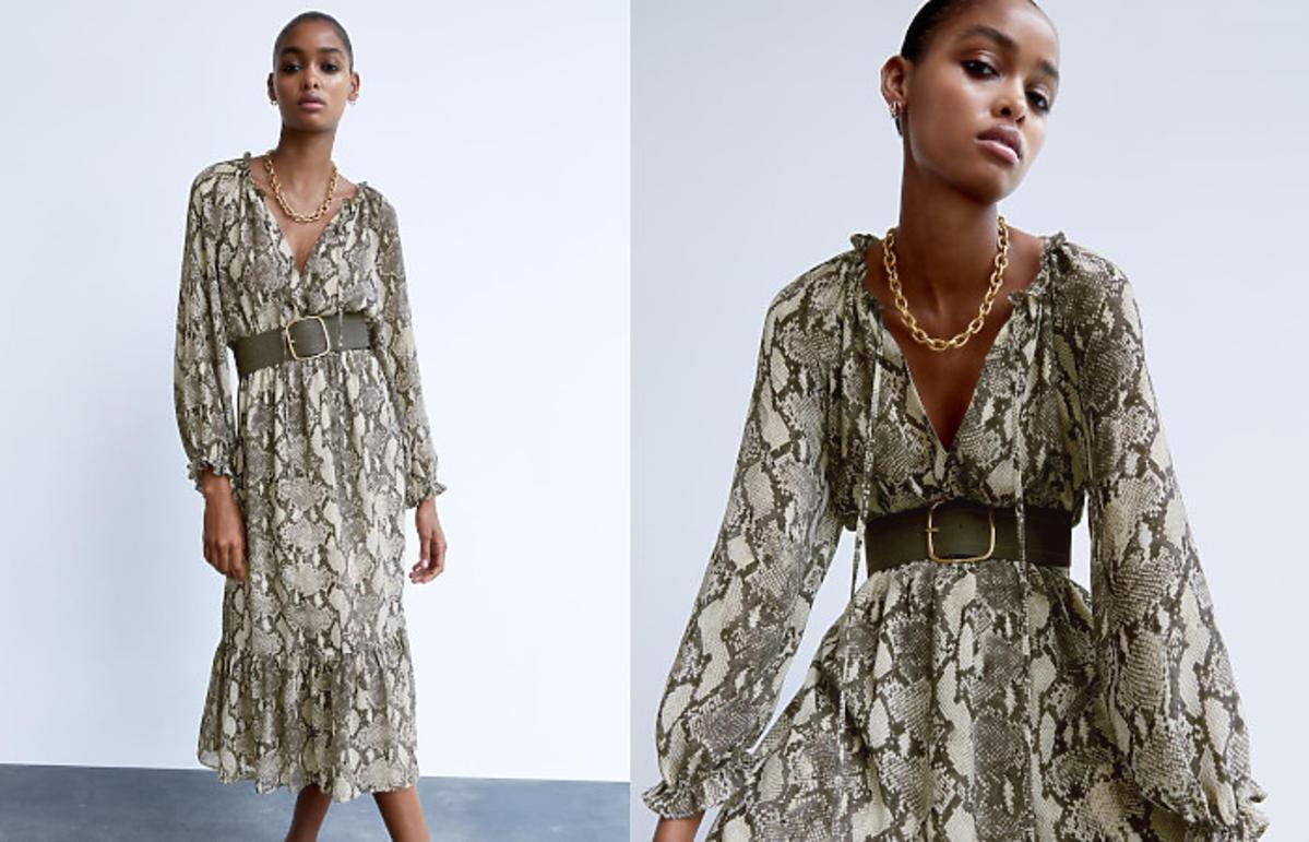 sukienka w wężowy wzór z Zary