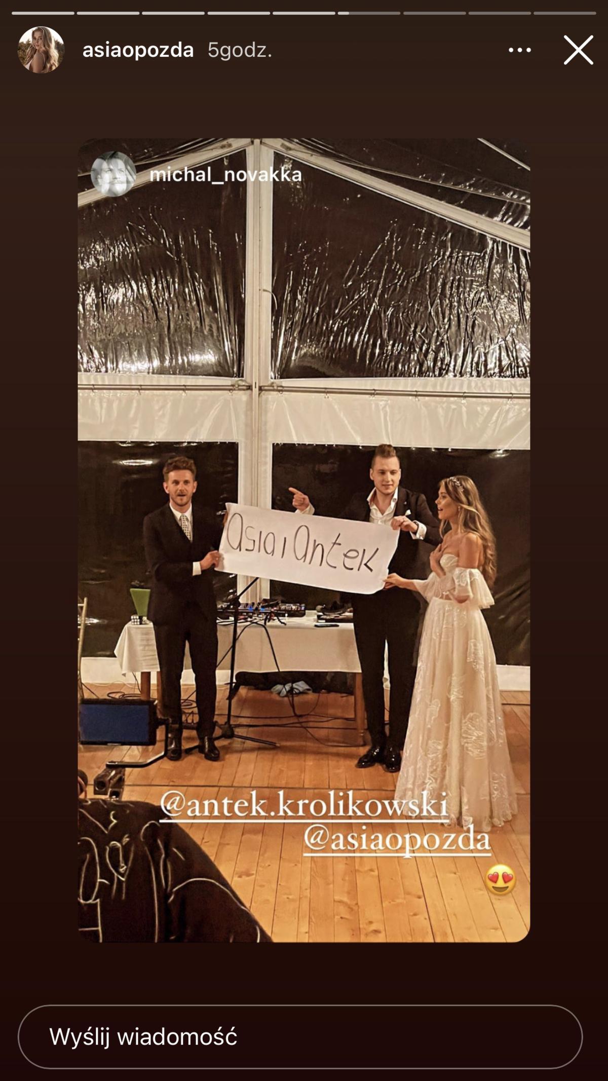 wesele Antka Królikowskiego i Joanny Opozdy
