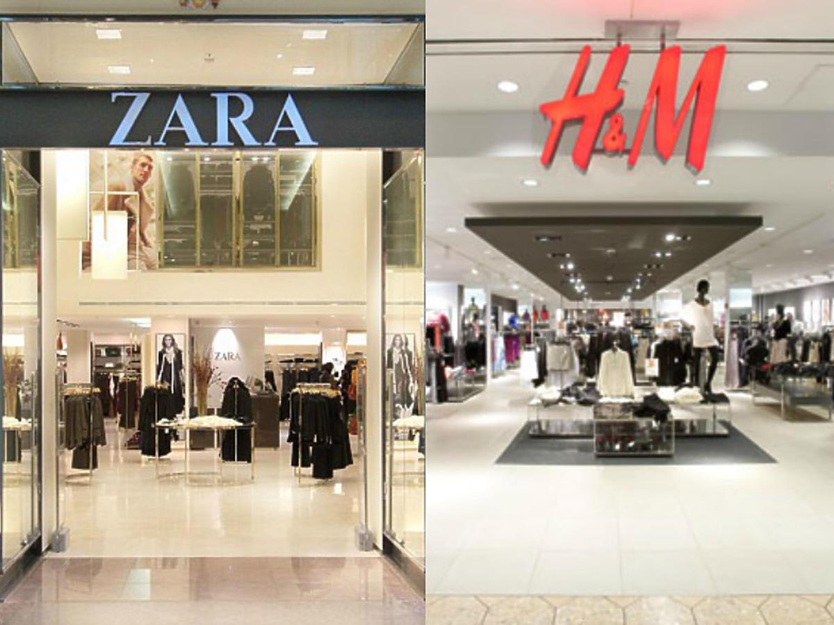 Witryny sklepów Zara, H&M, Reserved