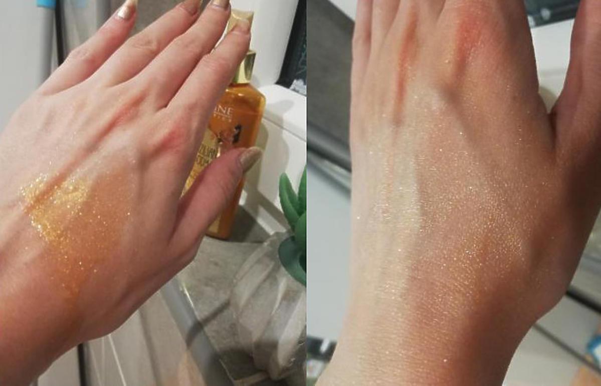 żelowy rozświetlacz do ciała 5 w 1 Eveline Brazilian Body - efekty na skórze